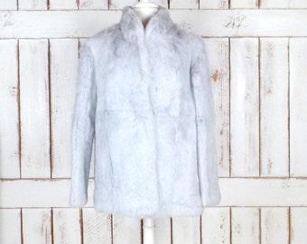 Vintage silver/light grey rabbit fur coat/silver grey fur jacket/bridal/wedding fur coat