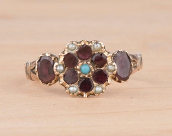 Georgian Flat Cut Garnet Flower Gold Ring with Seed Pearls and Turquoise