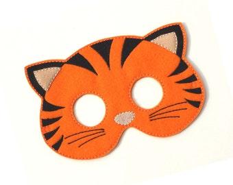 Kids Tiger Mask, Pony, Tiger Costume, Felt Mask, Kids Face Mask, Animal Mask, Halloween Costume, Pretend Play, Dress Up, Party Favors