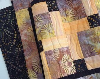 Batik Table Runner, Batik Table Topper, Reversible Table Runner, Yellow Brown Black Tableware, Quiltsy Handmade, Quilted Table Runner