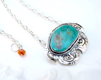 Hawaiian Turquoise Pendant - Battle Mountain Blue Gem Turquoise, .925 Sterling Silver, Carnelian, OOAK Necklace