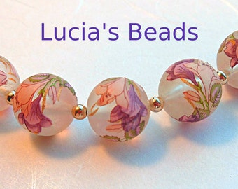 NEW and Gorgeous  Japanese Tensha Beads Lily Bouquet on Clear  Iridescent Frost 12 MM