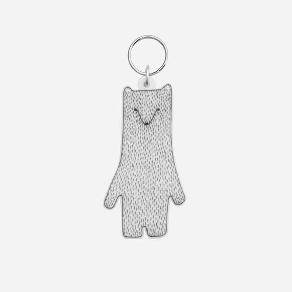 Polar Bear Keyring / Keychain - charm laser cut decoration white black grey gray mothers day birthday gift Christmas stocking filler
