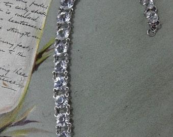 1930s Clear Czech Crystal & Silver Link Bracelet