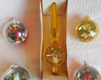 JEWELBRITE Unbreakable Hard Plastic Christmas Ornaments & Tree Topper for Retro Aluminum Tree