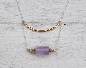Casia Necklace- Amethyst & Brass on Silver Chain