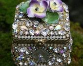 RESERVED for K Jeweled Box Rhinestones Crystals Chest Box Crystal Purple Yellow Flowers Encrusted Jewelry  -Original Art-Ulitmate Gift Box