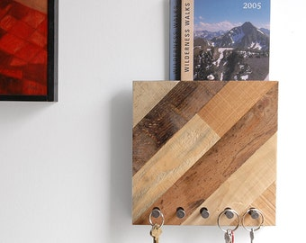 Mail organizer / Key rack Entryway storage - Reclaimed wood functional art