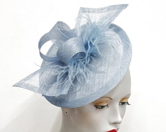 Pale blue saucer fascinator   powder blue fascinator baby blue feathers and sinamay fascinator  headband fixing  powder blue wedding hat
