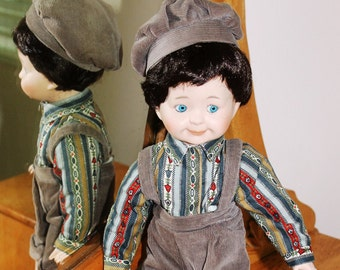 Heritage Mint Collection porcelain 15 inch boy doll brown corduroy short pants and cap