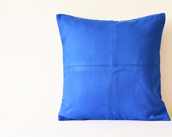 Ink Blue Suede Pillow with Stitch Detail , Ink Blue Decorative Pillow , Ink Blue Faux Suede Throw Pillow ,  Ink Blue Suede Cushion Cover