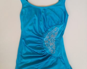 1970s blue skirted swimsuit with pretty embroidery