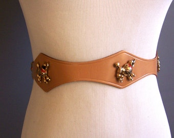 late 1940s tan leather poodle studs novelty belt 1940s belt, 40s belt, novelty belt, poodles belt
