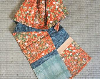 Red-orange and green floral, Japanese kimono silk scarf