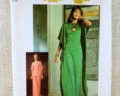 Simplicity 7211 vintage sewing Pattern 1970s angel sleeve butterfly caftan tent dress pants Tunic T-shirt Bust 36 wide leg ruana