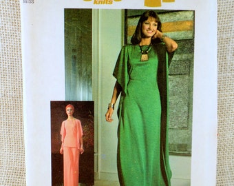 Simplicity 7211 vintage sewing Pattern 1970s angel sleeve butterfly caftan tent dress pants Tunic T-shirt Bust 36 wide leg ruana