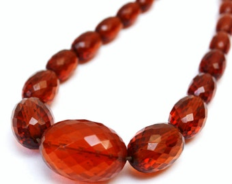 "Art Deco BAKELITE Necklace - Vintage Faceted Amber Beads - 17"" Graduated Beaded Choker"