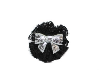 Small Black Lace and Silver Sequinned Hair Bow Clip