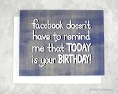 Birthday Card Funny, Facebook Card, Happy Birthday Gift, Boyfriend Birthday Card, Card For Anyone