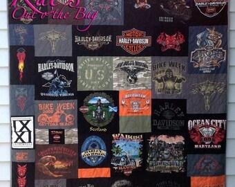 MEMORY QUILT | Harley Davidson Quilt | Harley Blanket | Keepsake Quilt | Custom Made-to-Order