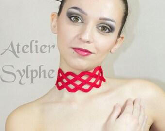 Collar fantasy boned strap criss cross crinoline grid neck necktie in red color