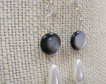 Contemporary Beaded Dangle Earrings- Faux Mother of Pearl with Teardrop Pearl - LACEY