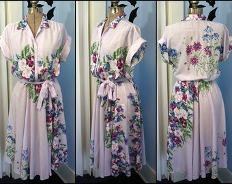 Vintage 80s 80s does 50s Womens Shirt Dress Floral Lavender Circle Skirt Modern Medium Large As-Is