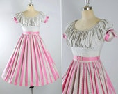 Vintage 50s Dress / 1950s Cotton SUNDRESS Pink STRIPE Panel Black CHECKERED Print Peasant Top Full Swing Skirt Pinup Garden Party M Medium