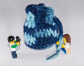 Coin Bag - Shaded Dusk - Money Dice Token Medicine Bag - Drawstring - Blue Navy Baby Denim Sky Multi Colour Color