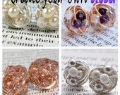 Customize Your Own Pair of Signature Wire Wrapped Stud Earrings - Made to Order - Swipe left to see custom color options
