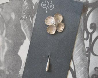 Vintage Stuart Nye Hand Wrought Sterling Dogwood Stick Pin Vintage Stuart Nye Sterling Dogwood Pin Vintage Sterling Dogwood Pin