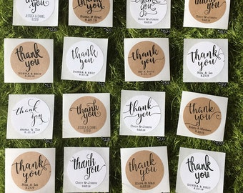Thank You Labels, Wedding Favor Labels / Stickers, Classic / Rustic Favor Labels, Custom Round White / Kraft Gift Labels, Mason Jar Labels