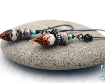 Tabby - short, lightweight, unique earrings with handmade lampwork glass head pins and beads in brown and turquoise