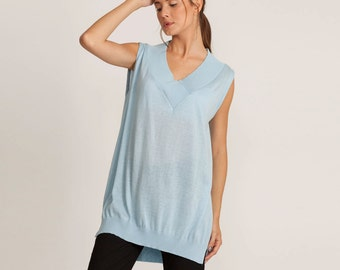 V blouse knitted top, light blue loose fit top, oversized top, women tank top, knitted tunic, blue top, sleeveless tunic, summer top