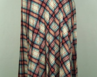 Vintage 70's Skirt Plaid Wool Red White Blue Pleated Size S / Small Waist 26""