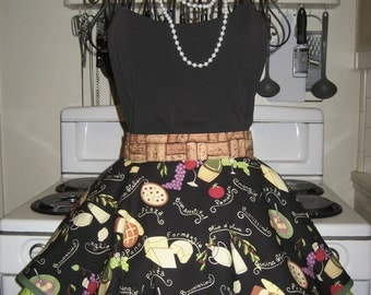 Italian Cooking Fancy Hostess Vintage Inspired Half Apron