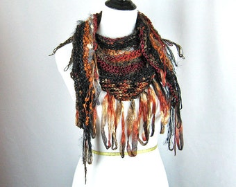 Hand Knit Shawl, Looped Fringe, Wide Triangle, Browns and Rusts, Novelty Yarns, High Fashion Accessory, Handmade Gift, Ribbons and Fluff