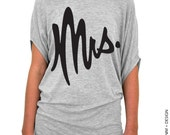Mrs. Shirt - Gray with Black Ink Slouchy Off the Shoulder Tee (Small - Plus Sizes)