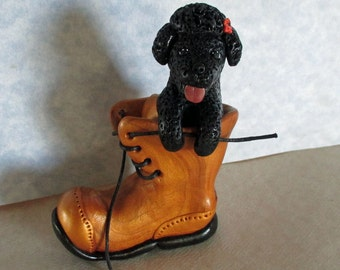 Playful BLACK POODLE puppy in laced work boot, completely handcrafted with polymer clay