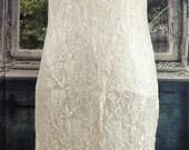 Handmade Vintage Lace Wedding dress Cream sheath dress Knee Length