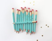 Gold Foil Heart Teal Mini Pencils // Bridal or Baby Shower Game Pencils