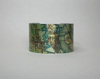 Saint Augustine Florida Cuff Bracelet Unique Hometown Map Gift for Men or Women