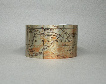 Suguaro National Park Tucson Mountains Arizona Map Cuff Bracelet Unique Hiking Gift for Men or Women