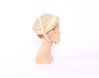 Vintage 50s HAT / 1950s Ivory & Metallic Gold Woven Cocktail Hat with Veil