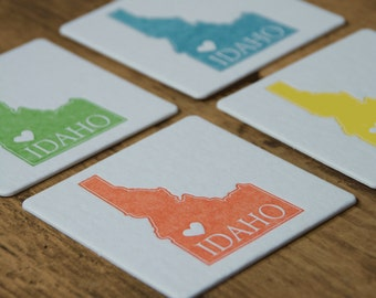 Idaho Heart Coasters, (Letterpress printed, 3.5 inches) set of 4, perfect gift