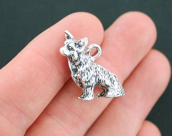2 Dog Charms Antique Silver Tone 3D Sitting Dog - SC4521