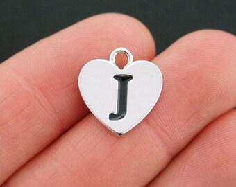 4 Letter J Heart Charms Antique Silver Tone Alphabet Charm - SC5322