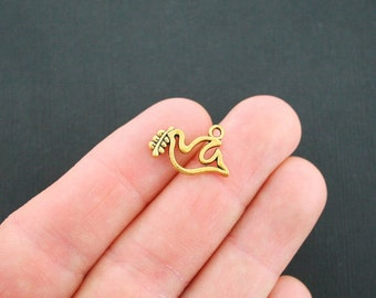 8 Dove Charms Antique Gold Tone With Olive Branch - GC025