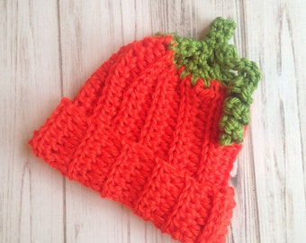Pumpkin Hat Fits Size 0 to 3 Months, Ready To ship, Halloween costume, fall hat, photo prop, baby shower gift