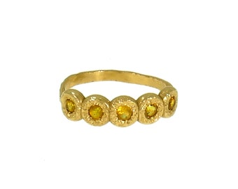 Yellow sapphire eternity ring, Yellow Gold Ring, Enternity ring